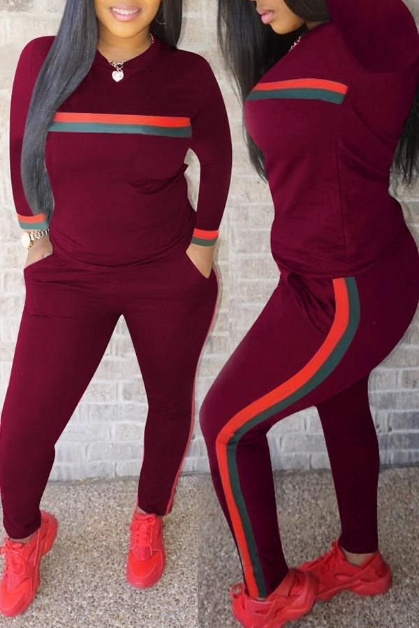 f9df7b5d35dc Casual Striped Two-piece Pants Set in 2019