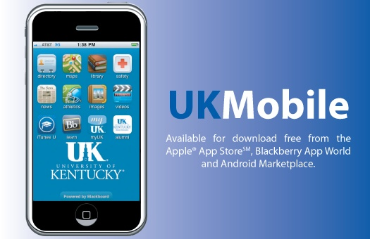 Get the UK Mobile smartphone app to access myUK, BlackBoard, campus maps, and much more!