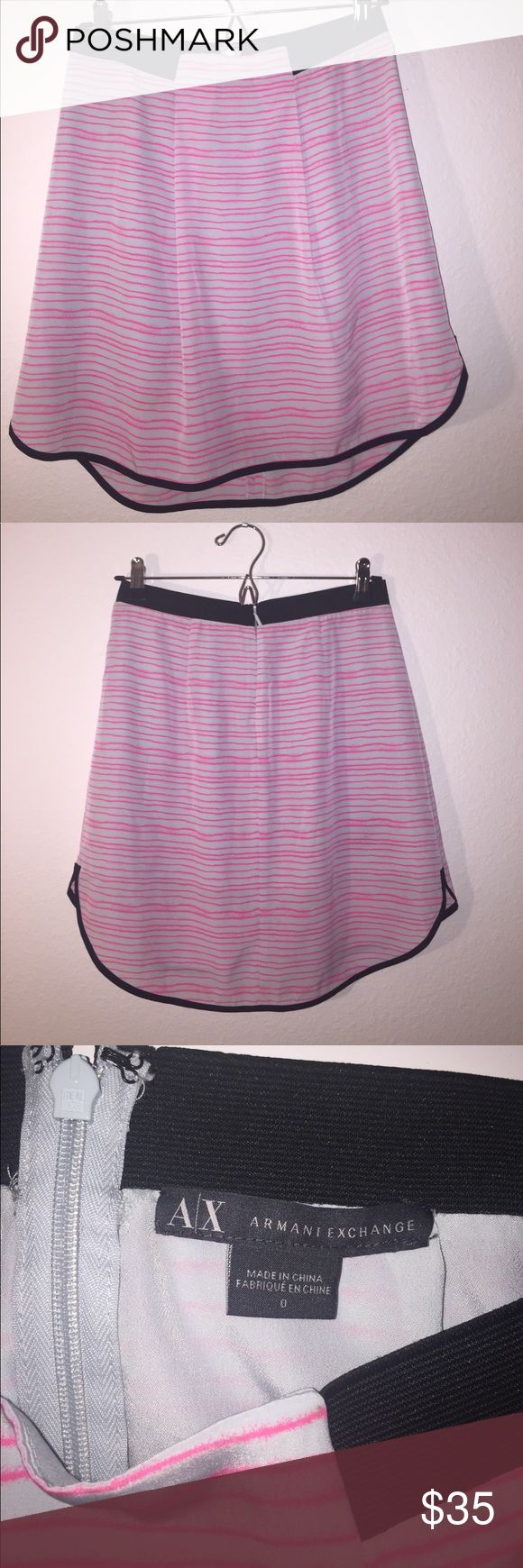 Armani Exchange Skirt Armani Exchange skirt with lining that zips up in the back. Waistband fit.  Shell: 100% Polyester Lining: 100% Polyester. Only worn a couple of times. I don't wear skirts in the cold weather anymore. A/X Armani Exchange Skirts A-Line or Full