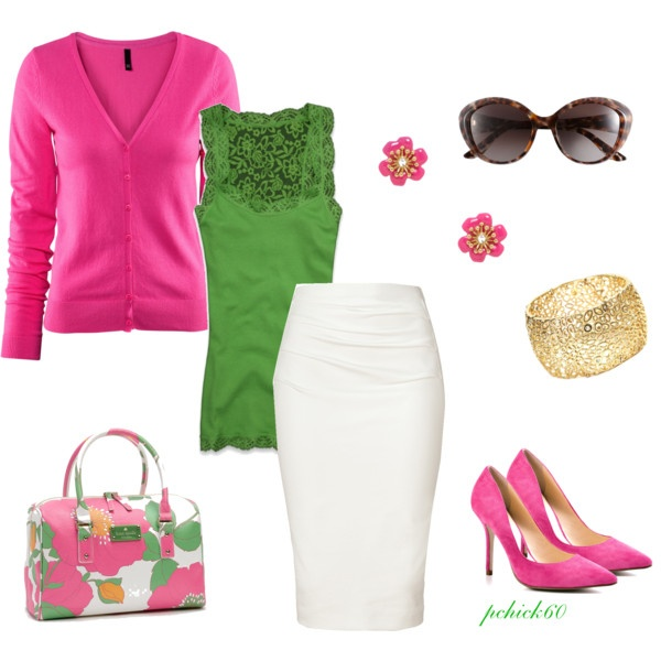 Pink and Green, created by pchick60 on Polyvore - OH! MY! WORD! LOVE EVERYTHING about this outfit!!! ALL OF IT!