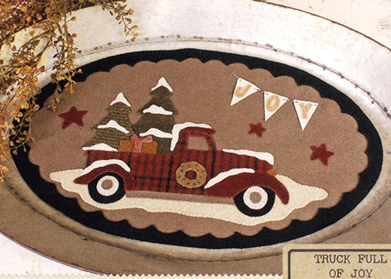 Christmas Truck Wool Table Mat -  Wool Applique Patterns - Winter Decor - Truck Full Of Joy by SimplyUniqueBySheila on Etsy