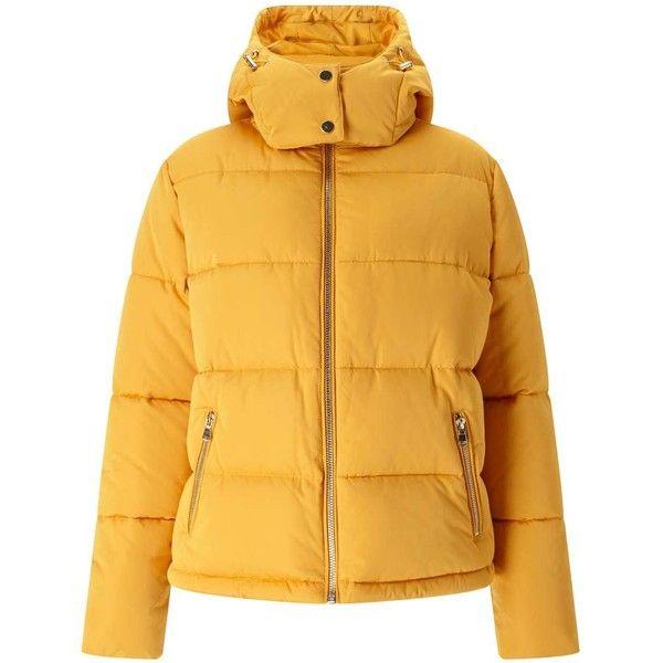 Miss Selfridge Mustard Oversized Hood Puffer Jacket ($81) ❤ liked on Polyvore featuring outerwear, jackets, mustard, hooded puffer jacket, mustard jacket, puffer jacket, miss selfridge jackets and puffy jacket