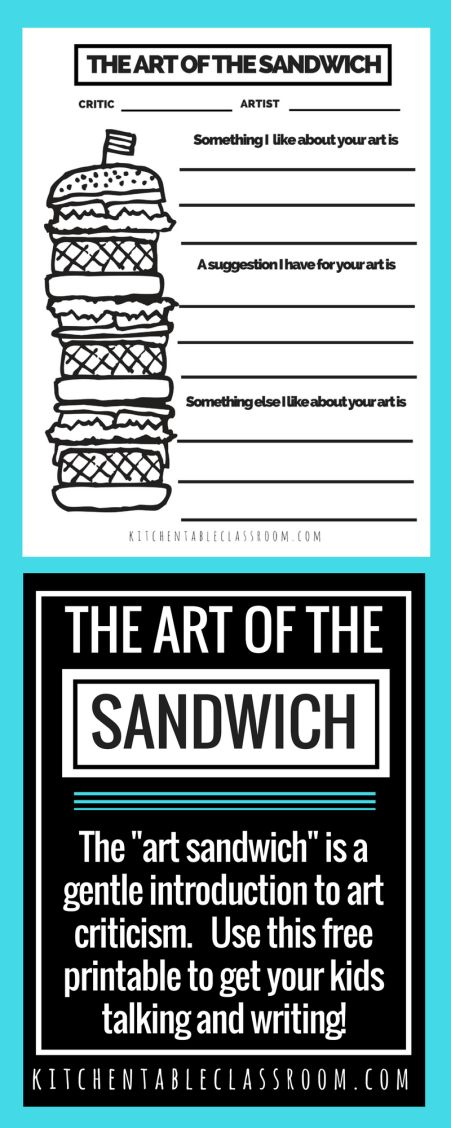 "Evaluation and judgement can be harsh words. Use this free printable to gently introduce art criticism for kids in terms of the ""art sandwich."""