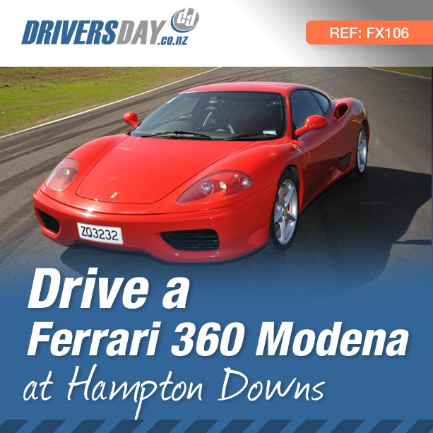 From $319, driving a Ferrari 360 Modena at Hampton Downs is a great gift for men or women. From the Ferrari 360 Modena's menacing crackle to a howling wail the exhaust note is undoubtedly one of the most intoxicating automotive sounds in the world.