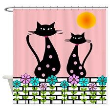 Whimsical Cat Fabric | Cat Shower Curtains | Cat Fabric Shower Curtain Liner
