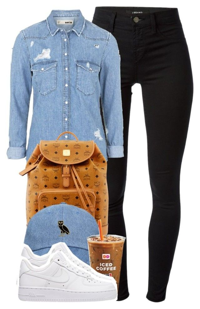"""""""School Look."""" by cheerstostyle ❤ liked on Polyvore featuring J Brand, Topshop, MCM and NIKE"""