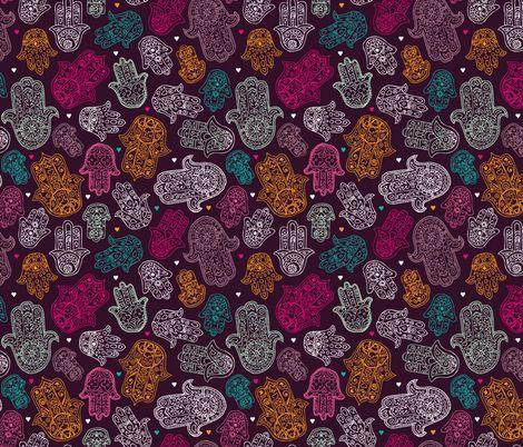 Hamsa hand of fatima moroccan arabic ornament pattern fabric by littlesmilemakers on Spoonflower - custom fabric