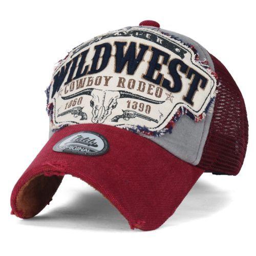 Ililily Salvaje Oeste Parche de estilo vintage con aspecto envejecido sombrero del Snapback Trucker Gorra de béisbol,