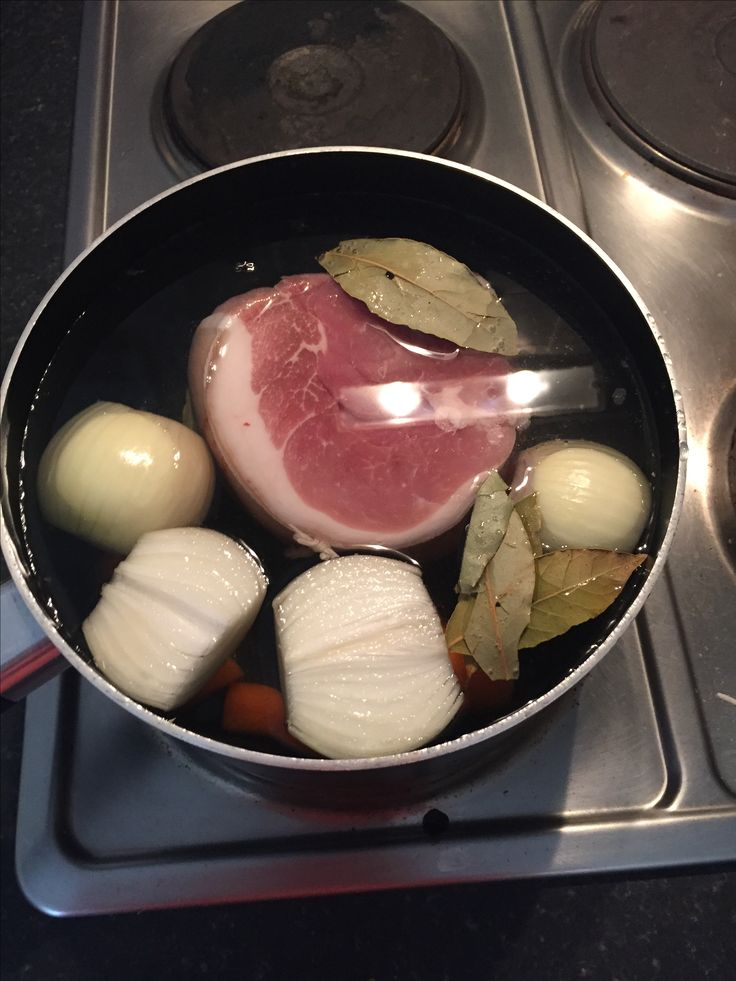 Home made ham - get a gammon joint, big pan, cold water, bay leaves, onions, carrots or don't bother, bring to the boil, skim off the salt residue, either drain and add more cold water and bring back to the boil, reduce the heat and cook for about 50 mins size dependant, drain cool unless you want to bake in a glaze.. Slice and eat.. Great to chop into chunks and have in a carbonara or just as is...