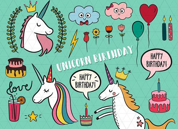 Birthday Unicorn Clipart, Unicorn Party Clipart, Unicorn Invitation, Unicorn Design, Unicorn Illustration, Unicorn Party, Cute Girly Clipart  This listing is for a clipart set of 25 digitally hand drawn unicorn design elements. PNG + JPG files. Can be used digitally or in print. Perfect for birthday invitation design, scrapbooking, cardmaking, stickers, announcement cards, blogs, greeting cards, web design, decorations or anything! Looks great on light and dark backgrounds.  ≈≈≈≈≈≈≈≈≈≈≈≈≈≈≈…