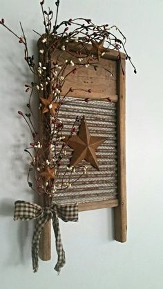 Small Rustic Primitive Vintage Washboard Decor by phyllishandmades