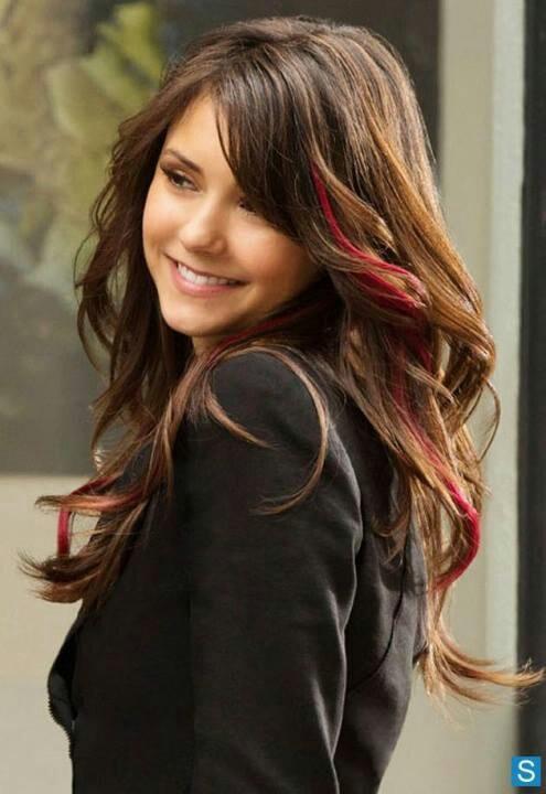 Nina Dobrev, love the red streak   hair ideas   Pinterest
