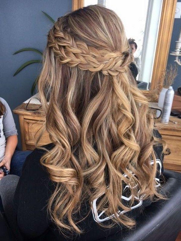 doppelt sichtbares Geflecht halb hoch halb runter Hochzeitsfrisur   – Cool Awesome Hairstyles