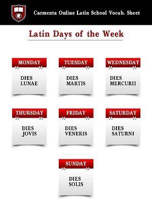DIES HEBDOMADIS (vía Latin Tutors | Carmenta Online PhD Tutors | Free Vocab Sheets)