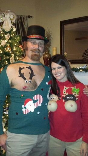 Our 2013 Ugly tacky couples Christmas sweaters. Chest hair and large nose reindeer.