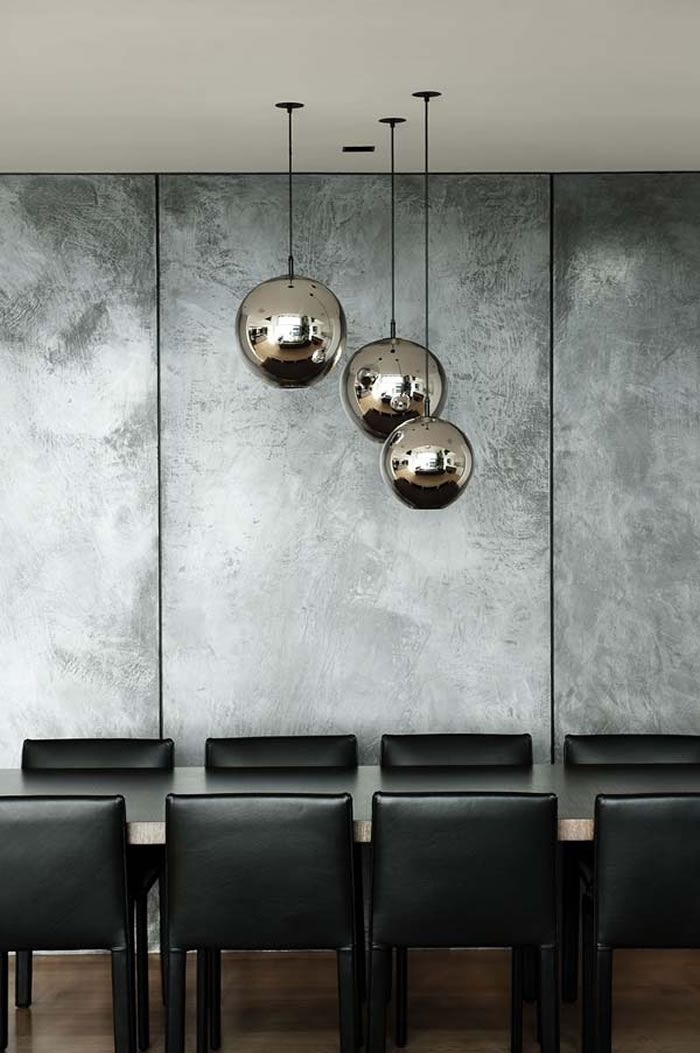 Concrete walls and pendant lights                              …