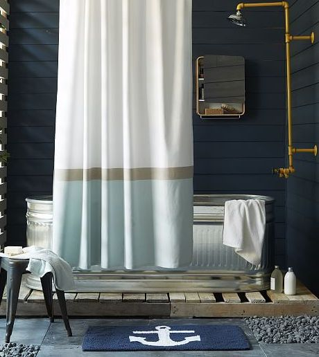 Nautical Bathroom Accessories in Blue and White. Shop at Completely Coastal: http://www.completely-coastal.com/2015/01/nautical-bathroom-accessories-blue-and-white.html