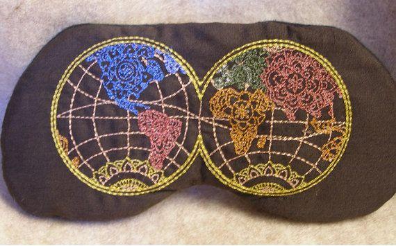 Embroidered Eye Mask, Sleeping, Cute Sleep Mask for Kids or Adults, Sleep Blindfold, Slumber Mask, World Map, Eye Shade, Travel, Handmade