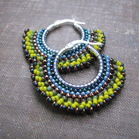 Yellow beaded hoop earrings sterling earring with by windyriver, $31.00