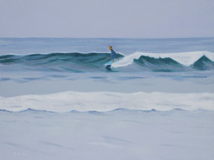"Surfer, Long Beach 18x24"" Oil on canvas © Chris Dahl 2014. $1,200 (unframed) free shipping worldwide. contact to purchase. http://chrisdahlcreative.com/paintings_page2010.html"