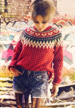 VINTAGE CHRISTMAS HEART KNIT WOOLY JUMPER £30 asos marketplace