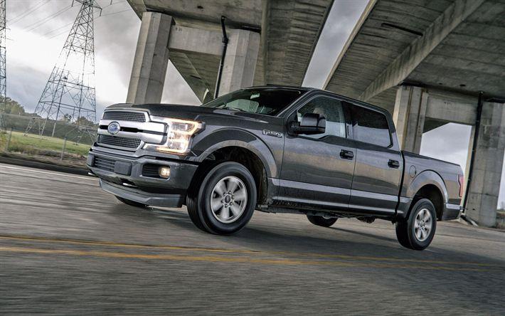Hämta bilder Ford F-150, 2018, Pickup lastbil, grå F-150, Amerikanska bilar, ridning i regn, Ford