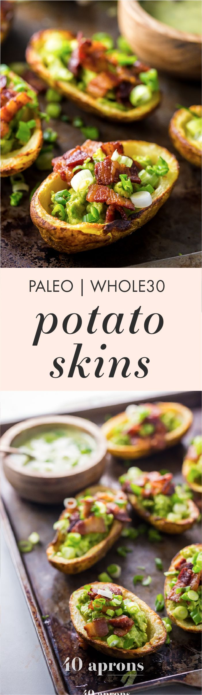 These paleo potato skins are seriously perfect paleo tailgate food. These paleo potato skins are super crispy and easy to make, loaded with a quick guacamole, crispy bacon, green onions, and ranch dressing. Yep, these Whole30 potato skins areperfect alongside buffalo wings and beer, and they'll quickly become your favorite paleo tailgate food.