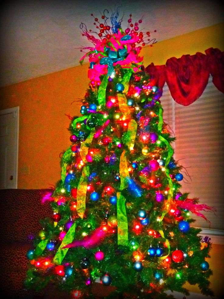 Christmas Tree With Bright Colors For The Home Christmas Whimsical Christmas Trees