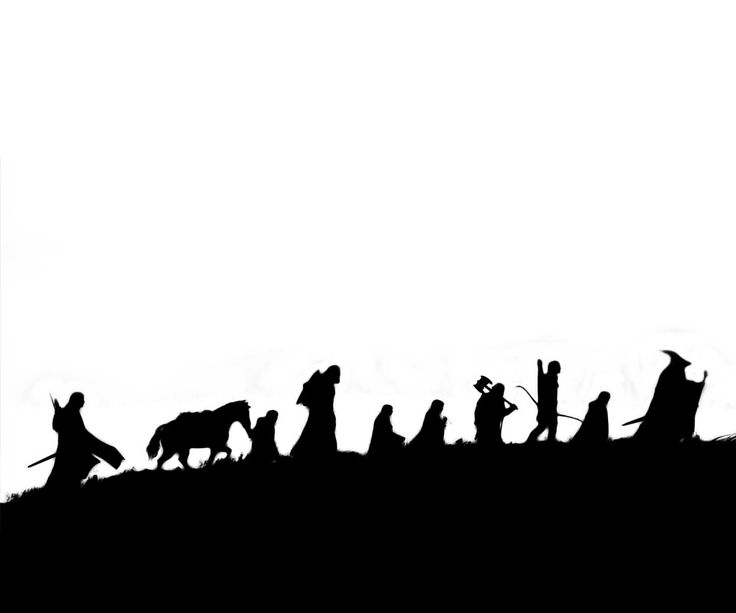 The Fellowship of the Ring Silhouette ... Boromir, Samwise Gamgee, Aragorn, Meridoc Brandybuck, Peregrin Took, Gimli son of Gloin, Legolas Greenleaf, Frodo Baggins and Gandalf The Grey