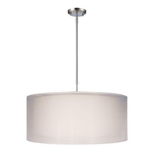 Nikko Brushed Nickel Three Light 24 Inch Pendant Z Lite Drum Pendant Lighting Ceiling Ligh