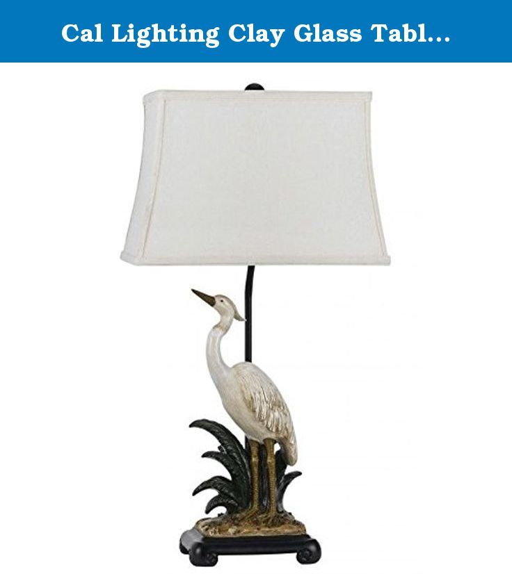 """Cal Lighting Clay Glass Table Lamp, 30.5"""", Pearl White. A beautiful hand painted piece with a detailed finish brings the tropical outdoors into your home. With a solid resin construction, it is the perfect combination of style and durability."""