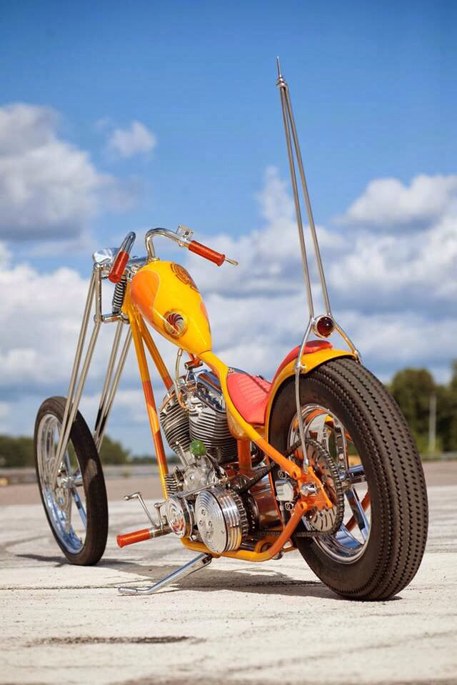 Custom Chopper Orange Big Sissy Bar Motorbikes What I