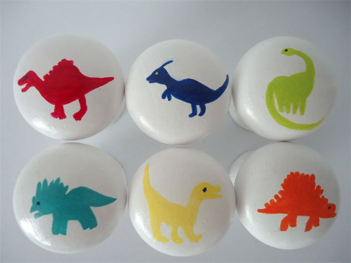Hand painted wooden Drawer Dinosaur Knobs - Set of 6