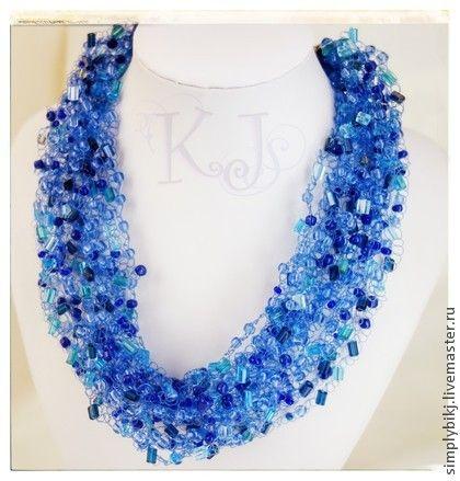 """Колье """"Цвет неба"""" - голубой,небо,цвет неба,воздушное колье,украшение в подарок. Multistrand Bead Crochet Necklace. Beadwork Necklace."""