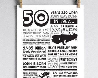 * Importante: Este listado está para el 50 º cumpleaños en 1967; Nacido en 1967 sólo! *  Una divertida personalizada cartel, incluyendo acontecimientos y hechos a partir de 1967, así como nombre de niño o niña de cumpleaños y fecha de nacimiento real! ¡Perfecto como regalo de cumpleaños o decoración 50! Incluye estadísticas de 1967, encabezados, entretenimiento y más.  Este listado está para el DIGITAL ARCHIVOS SOLAMENTE que usted puede imprimir por su cuenta en casa o una tienda de copia…