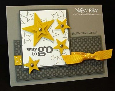 handmade card for Curtain Call Color Challenge: {ACT 26}  ...  two grays, white and Crushed Curry ... great design for the card .. like the shiny brads in the middle of the punched (?) stars ... design would also be fantastic in red, white and blue ... great card!! ... Stampin' Up!