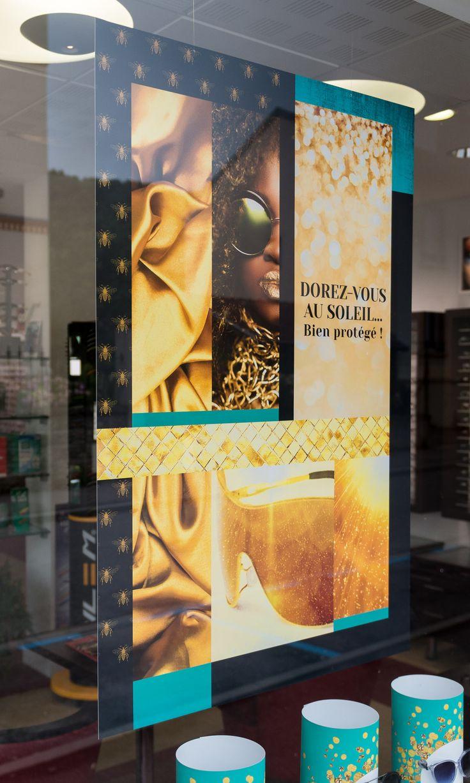 Programme de Théâtralisation vitrines mensuel pour opticiens indépendants (Agence 100% pour LUZ optique) #windows #opticiens #opticien #optique #optic #vitrines #communication #design #gold