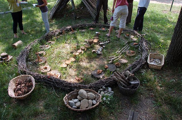 Outdoor play area with loose parts. Circle is nice as it helps to define the play area :)