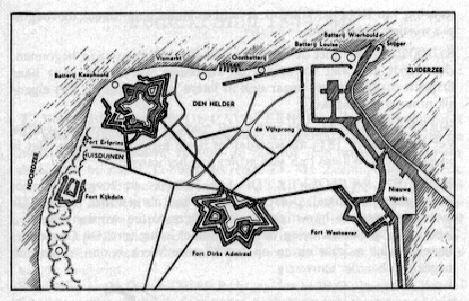 De Geschiedenis van Den Helder: 0p 31 oktober 1811 wordt bij decreet het Nieuwe Diep als oorlogshaven aangewezen. Er wordt begonnen met de bouw van de forten.