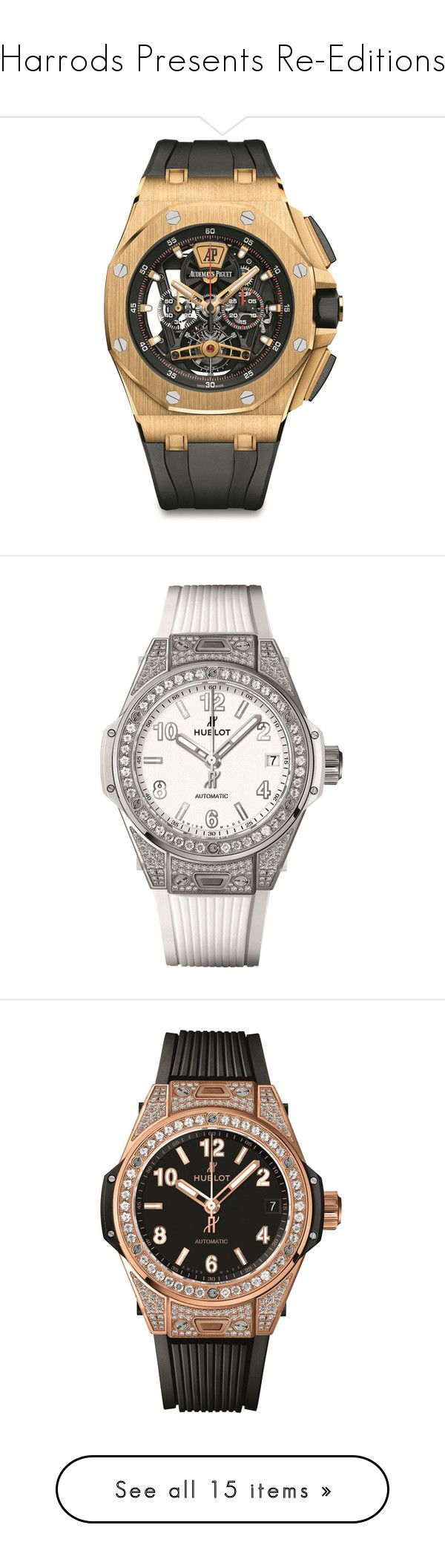 """""""Harrods Presents Re-Editions"""" by harrods ❤ liked on Polyvore featuring jewelry, watches, chronograph watches, chronograph wrist watch, dial watches, chronos watch, audemars piguet watches, hublot watches, white faced watches and pave diamond jewelry"""