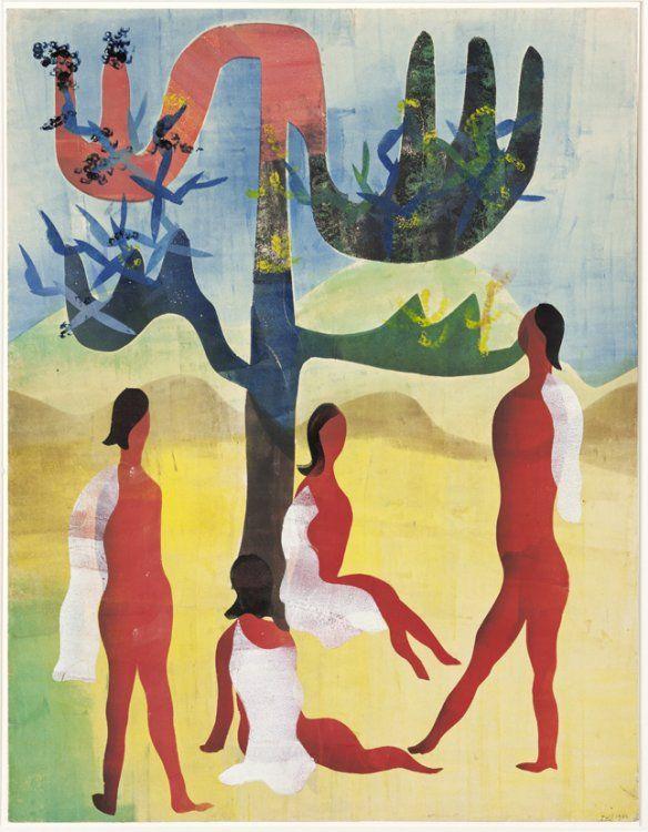 H.N. Werkman (1882-1945) Vrouweneiland 9, 1942, sjabloon en stempel.
