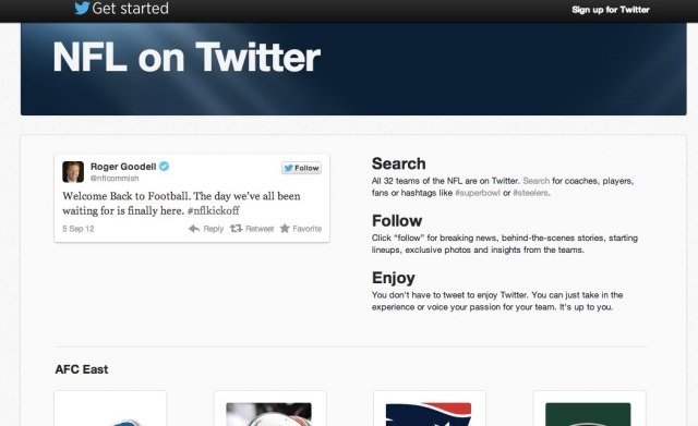 "The NFL Season Starts Tonight And Twitter Has You Covered With A ""Get-Started Page"""