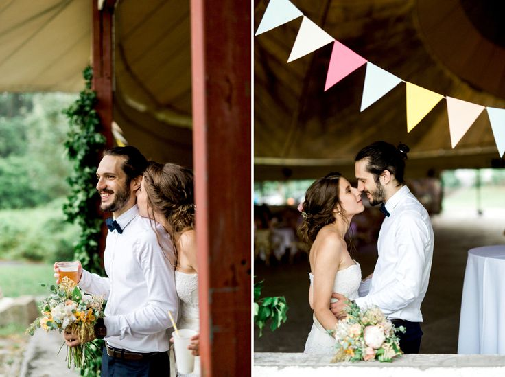 Rainy rustic wedding in an abandoned circus tent.