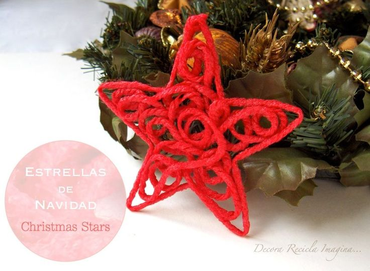 This star is made with wool string. Also needed: Styrofoam tray,  wooden sticks, white glue (mixed with water in equal parts) and a star or tree template.