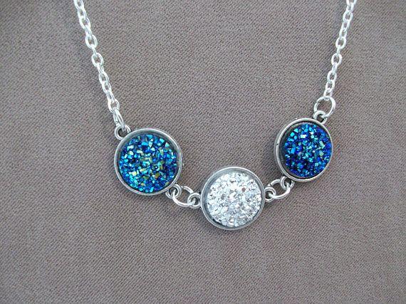 Shimmering Silver Blue Druzy Resin Necklace