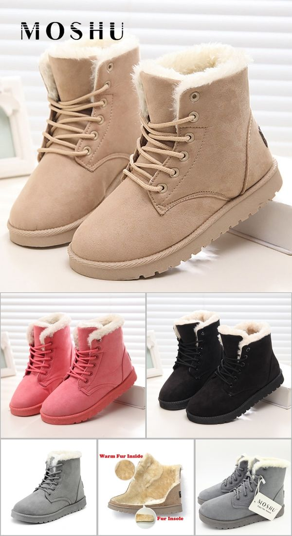 caae5991acbfd Classic Women Winter Boots Suede Ankle Snow Boots Female Warm Fur Plush  Insole High Quality Botas Mujer Lace-Up