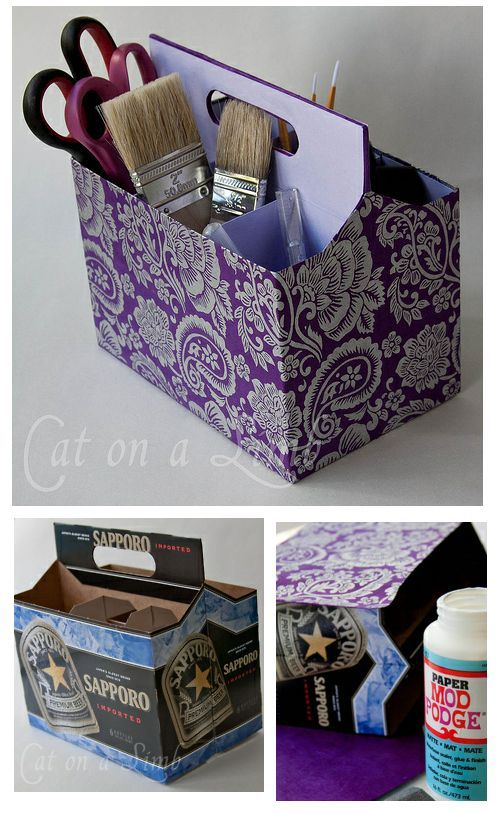 Recicle los porta cervezas de cartón, con papel decorado, goma e imaginación. Transfórmalo en un organizador de oficina, revistero, o para artículos varios.