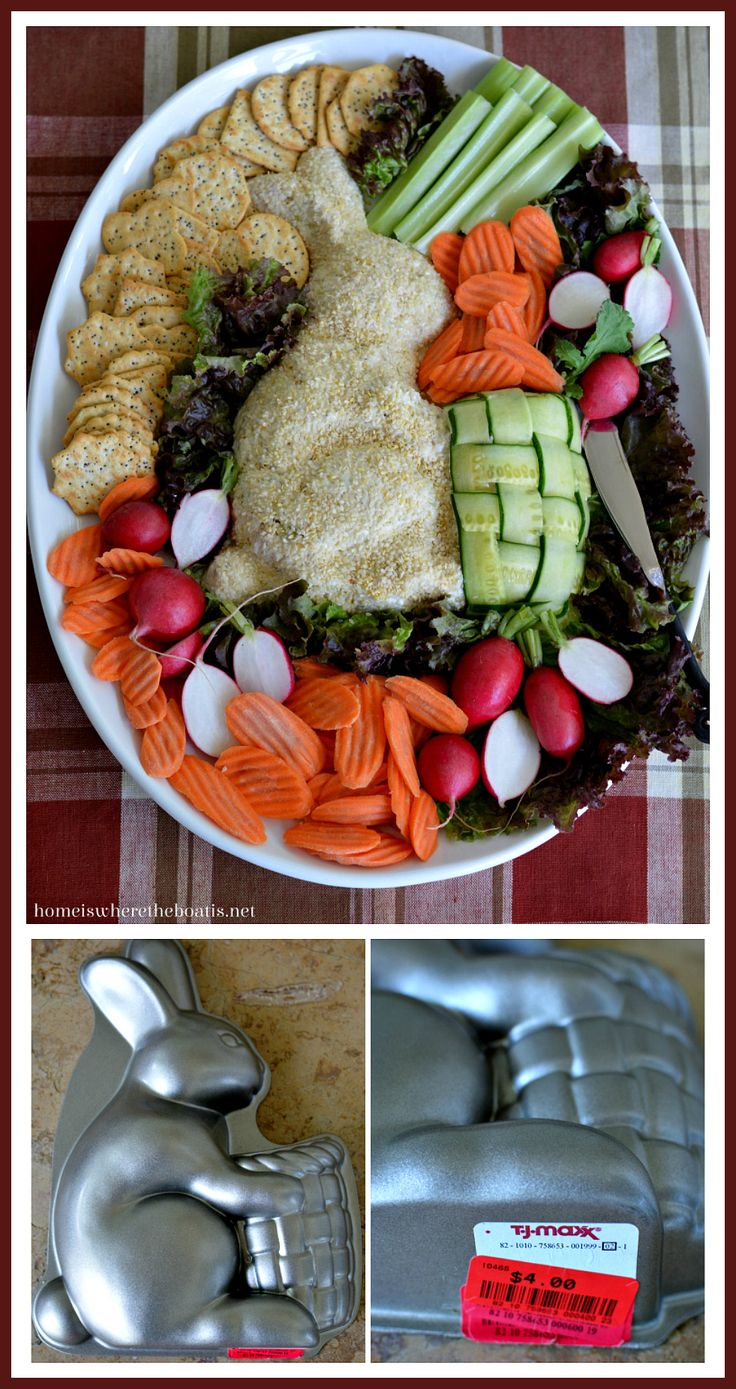 Party Chicken Salad Spread using a bunny cake pan as a mold! Would be cute for a baby shower or with egg salad for Easter! | homeiswheretheboatis.net #BeatrixPotter