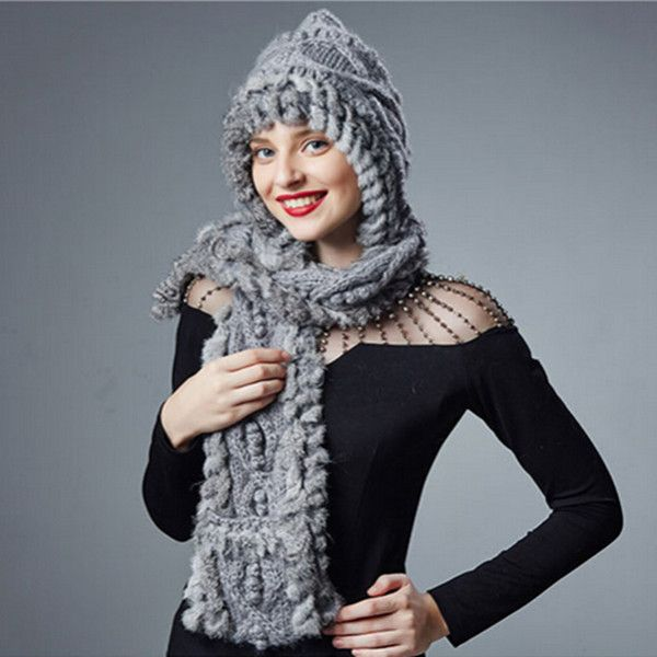 44360d7e02689 Rabbit fur knit hat scarf and gloves all in one for women