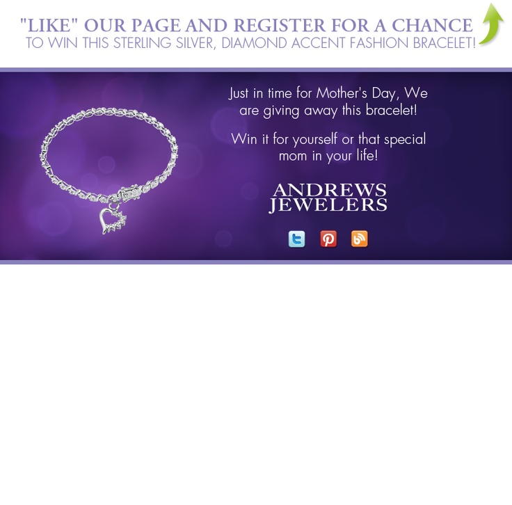 I just entered the Andrews Jewelers' Mother's Day Contest! Click this Pin to see how to enter to win a Sterling Silver, Diamond Accent Fashion Bracelet